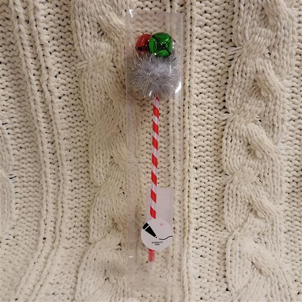 Markowy długopis Sinsay biało-czerwony z ozdobą