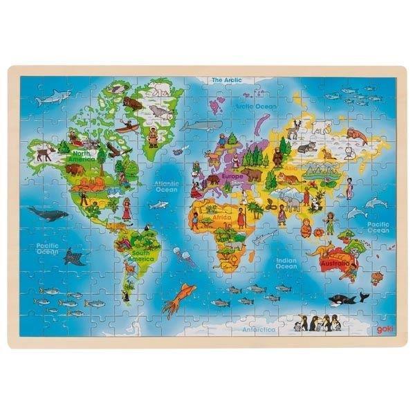 Drewniane puzzle-Mapa świata outlet