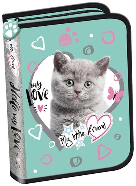 Piórnik dwuklapkowy b.w. My Little Friend Kot Mint