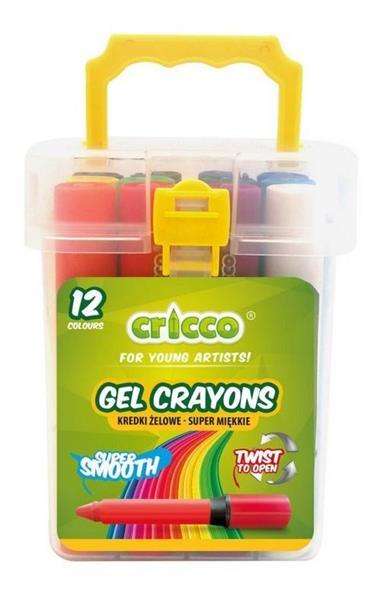Kredki żelowe Twist 12 kolorów wiaderko CRICCO