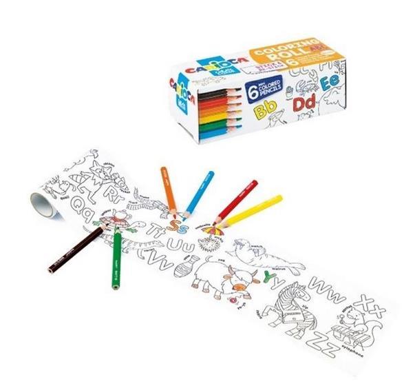 Kolorowanka w rolce mini+ kredki 6 kolorów CARIOCA