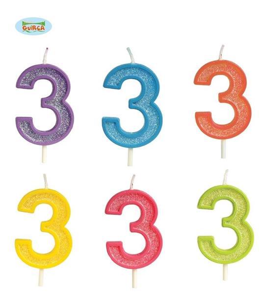Brokatowa cyfra 3 świeczka na tort 4cm Mix kolorów