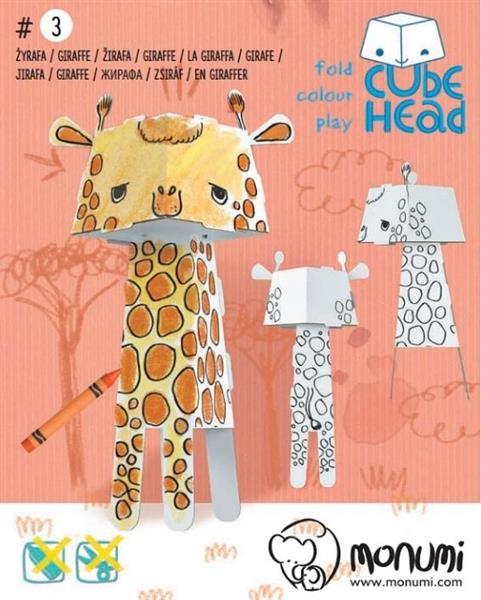 Żyrafa. Cube head. Złóż i pokoloruj