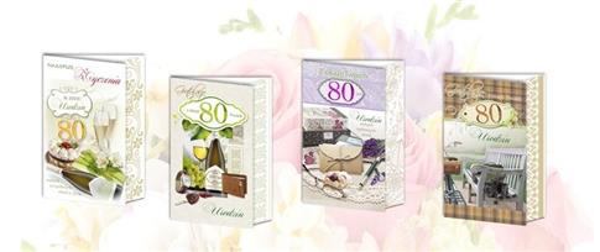 Karnet B6 brokat z margin.80-Urodziny (10szt.) MIX