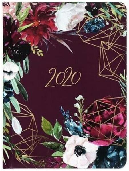 Kalendarz tygodniowy B6 2020 Kwiaty bordo ALBI