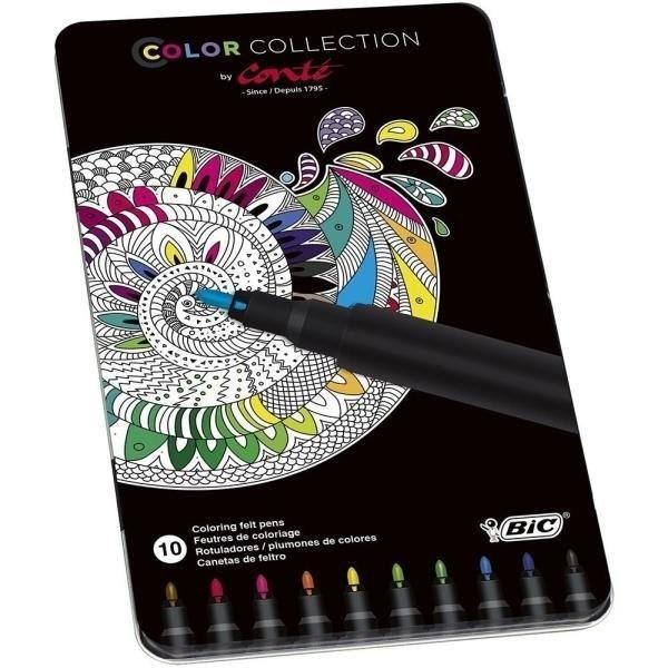Flamastry Conte Color Collection 10 kolorów BIC