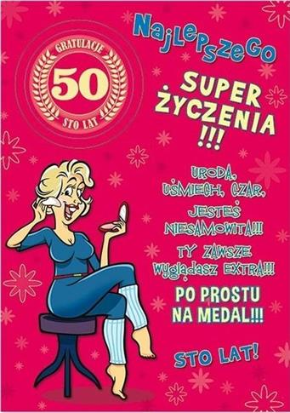 Karnet Party naklejany B6+koperta Urodziny 50 wz01