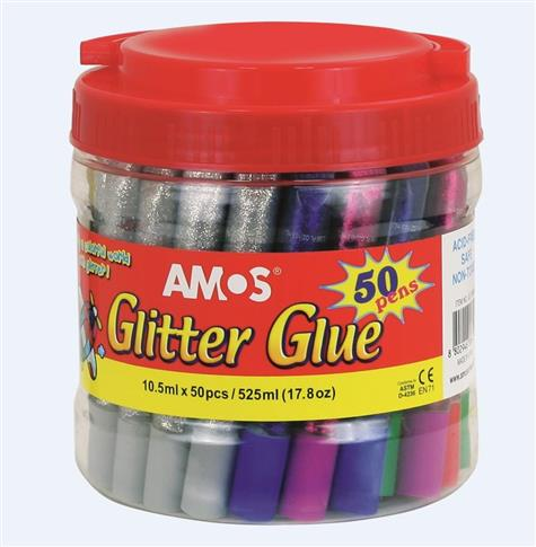 Klej z brokatem 50 kolorów AMOS