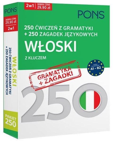 250 ćwiczeń/250 zagadek gramatyka. Włoski 2w1