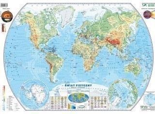 Świat 1:55 000 000 mapa pol. i fiz. PIĘTKA