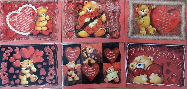 Karnet Walentynki B6 brokat + koperta