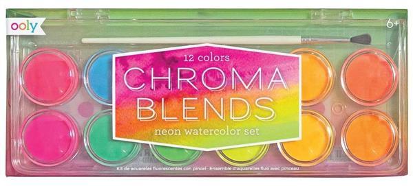 Farby akwarelowe neonowe 12 farb + pędzelek