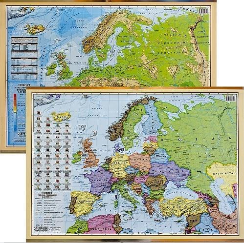 Podkładka na biurko - Mapa pol-fizyczna Europy