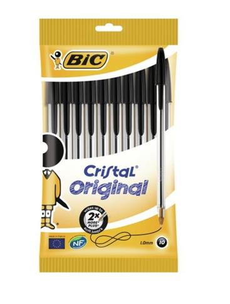 Długopis Cristal Original pouch czarny 10 szt BIC