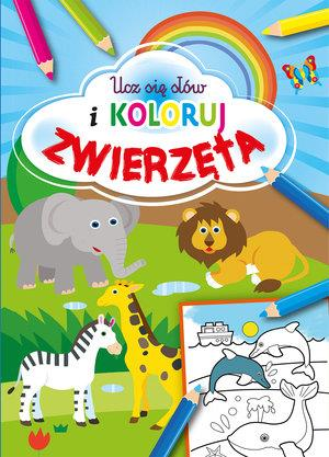 Ucz się słów i koloruj. Zwierzęta