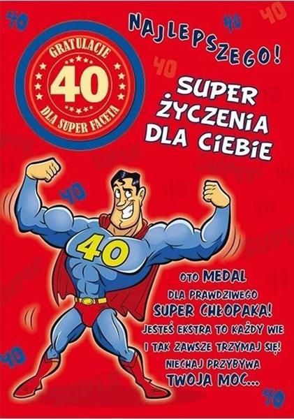 Karnet Party naklejany B6+koperta Urodziny 40 wz05