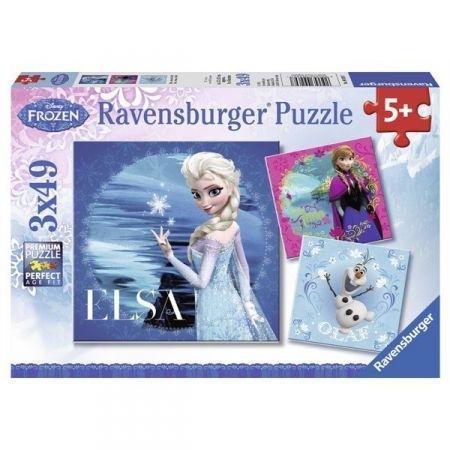 Puzzle 3x49 Frozen Elsa Anna i Olaf