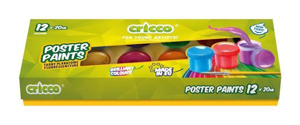 Farby plakatowe 12 kolorów CRICCO
