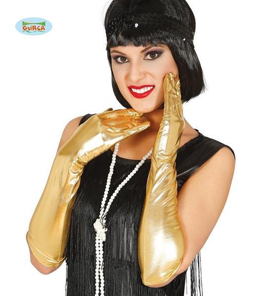 Długie Rękawiczki Złote 44cm