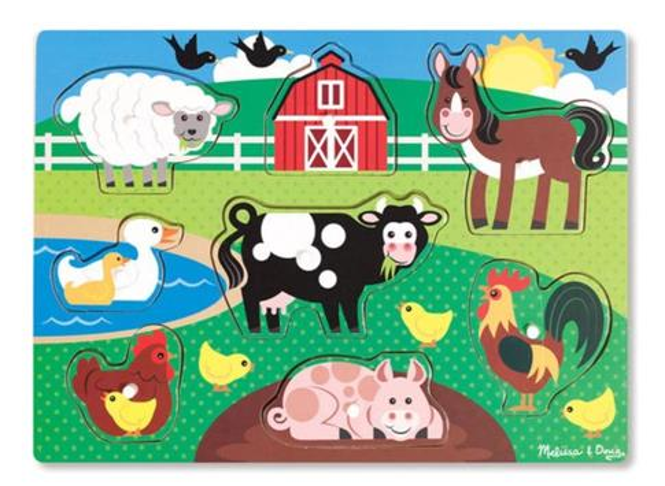 Drewniana układanka z uchwytami Farma