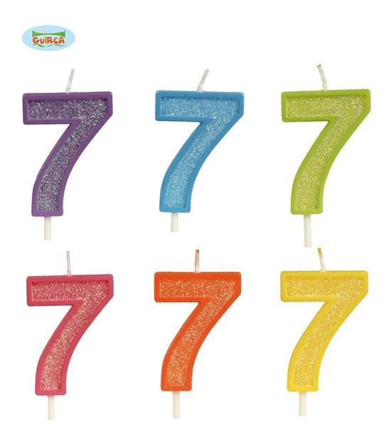 Brokatowa cyfra 7 świeczka na tort 4cm Mix kolorów