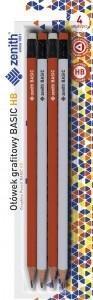 Ołówek trójkątny z gumką HB 4szt ZENITH