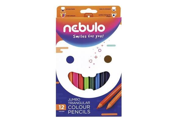 Kredki ołówkowe trójkątne Jumbo 12 kolorów NEBULO