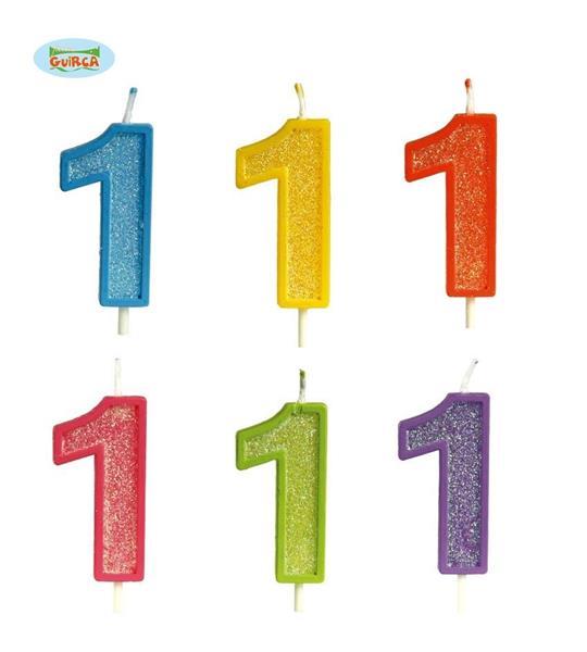 Brokatowa cyfra 1 świeczka na tort 4cm Mix kolorów