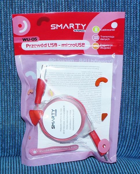 Smarty Przewód USB- microUSB-różowy-24435