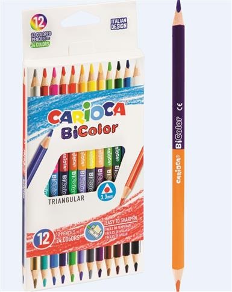Kredki ołówkowe trójkątne BiColor 12/24 CARIOCA