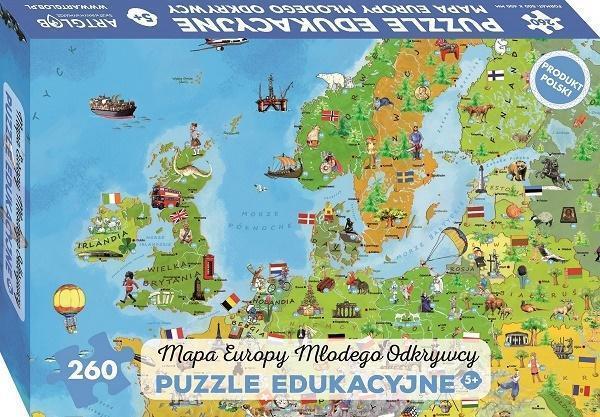 Puzzle 260 - Mapa Europy Młodego Odkrywcy