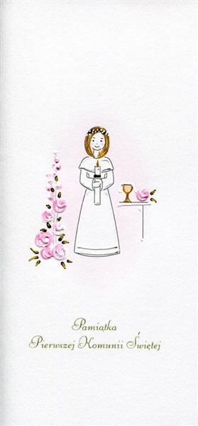 Karnet Komunia Dziewczynka kwiaty MAK