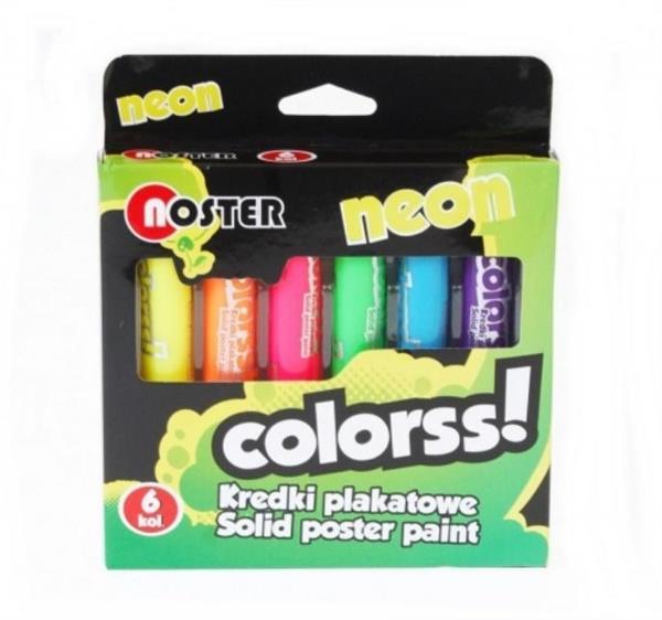 Kredki plakatowe 6 kolorów neon NOSTER
