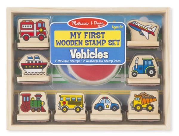 Zestaw drewnianych stempelków Pojazdy
