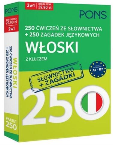 250 ćwiczeń/250 zagadek słownictwo. Włoski 2w1