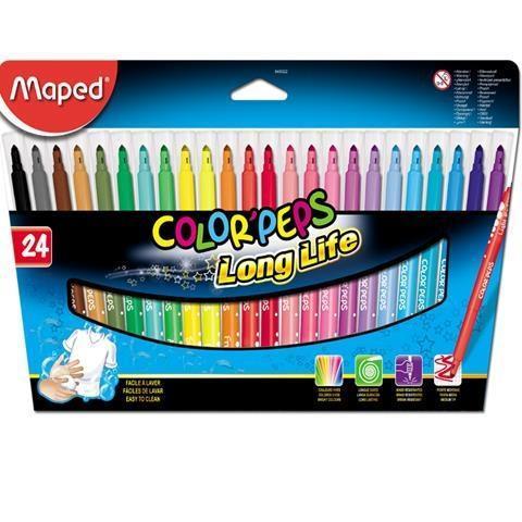 Flamastry Colorpeps trójkątne 24 kolory MAPED