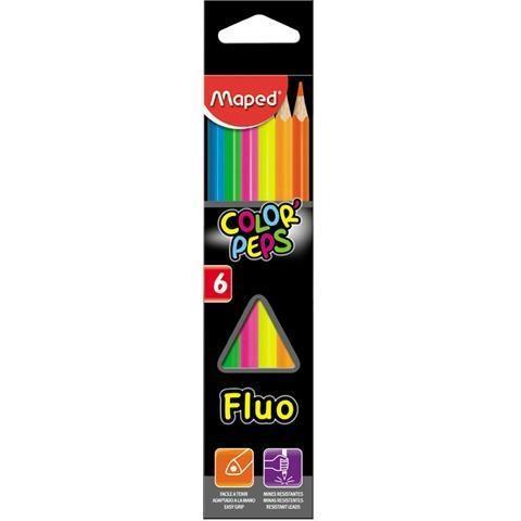 Kredki Colorpeps fluo trójkatne 6 kolorów MAPED