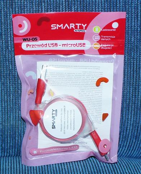 Smarty Przewód USB- microUSB-różowy