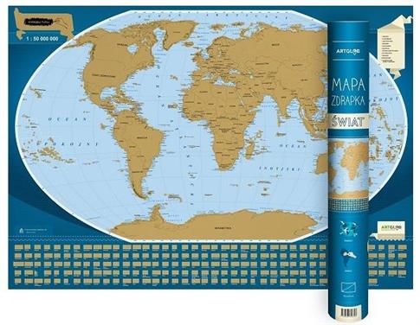 Mapa zdrapka - Świat 1:50 000 000