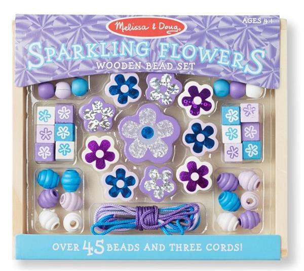 Zestaw drewnianych koralików Kwiatki