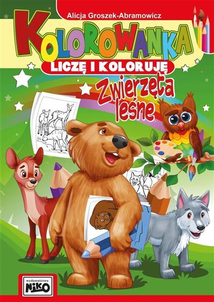 Kolorowanka. Liczę i koloruję. Zwierzęta leśne-318661