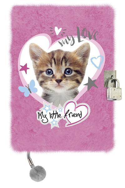 Pamiętnik z kłódką A5/96K My Little Friend Kot Pin