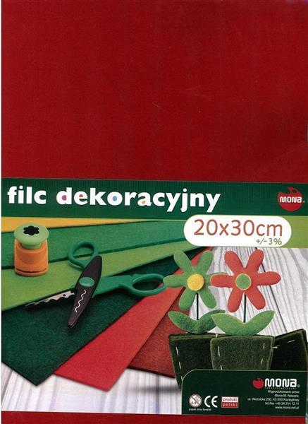 Filc Dekoracyjny 20x30cm mix kolorów (10szt) MONA