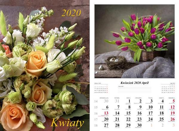 Kalendarz 2020 Kwiaty 13 planszowy RADWAN