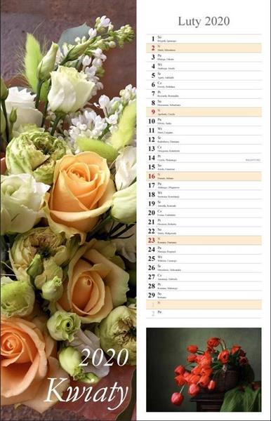 Kalendarz 2020 Kwiaty 13 planszowy 15x48 RADWAN