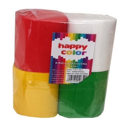 Bibuła marszczona wstążka 5x10cm mix HAPPY COLOR