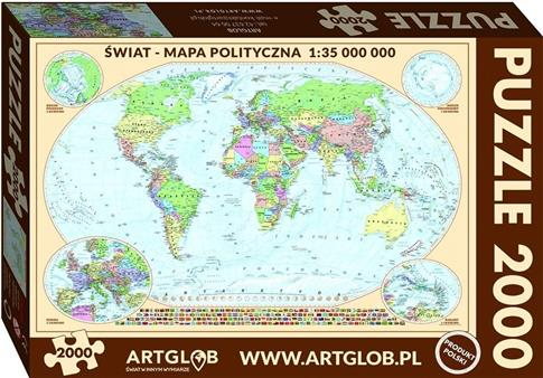 Puzzle 2000 - Mapa polityczna Świat 1:35 000 000