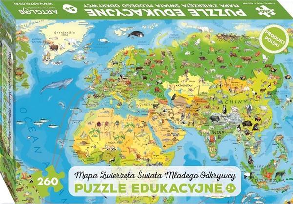 Puzzle 260 -Mapa Zwierzęta Świata Młodego Odkrywcy
