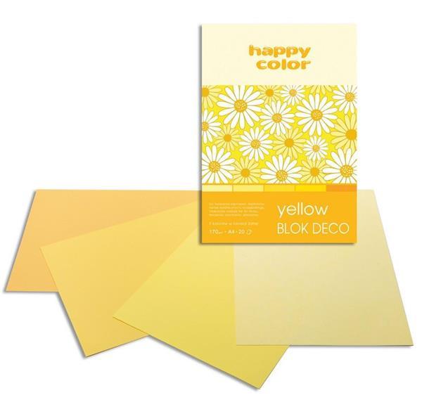 Blok A4/20K Deco Yellow 170g HAPPY COLOR