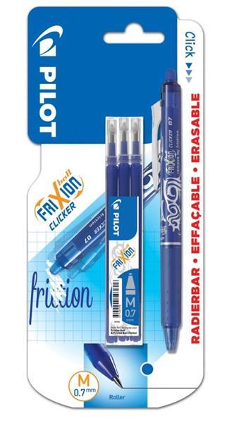 Pióro kulk. FriXion Clicker niebieski 0.7 + wkłady